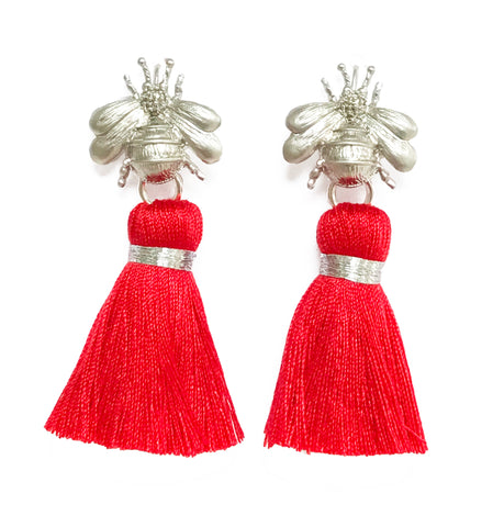 The 'Queen Bee' Tassel Earrings - Silver/Red