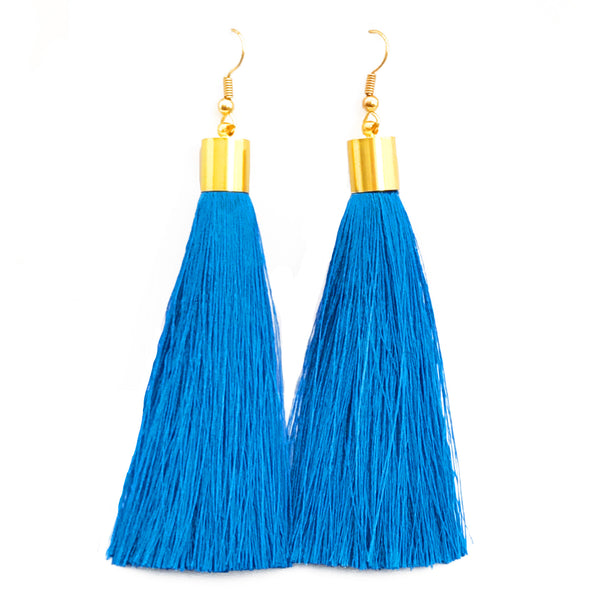 Long Silk Tassel Earrings - Bright Blue