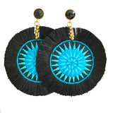 Fan Disc Tassel Earrings - Black with Blue / Black Stone