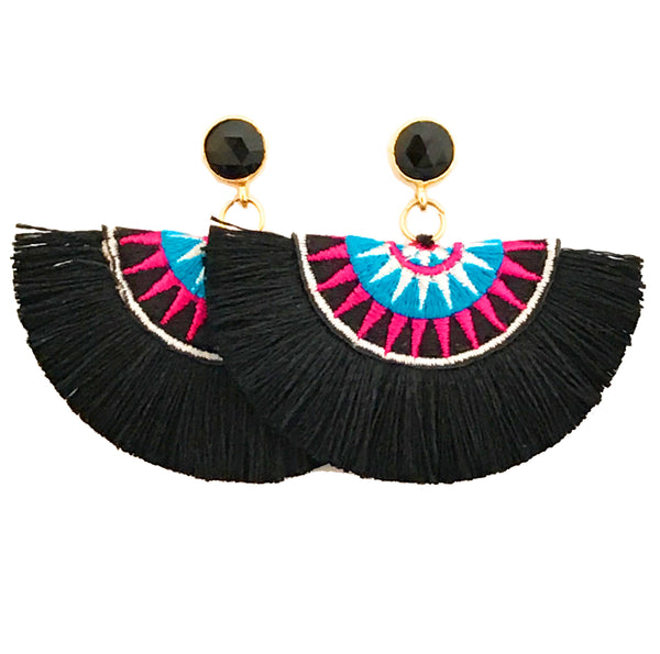 Fan Disc Tassel Earrings - Black / Black Stone