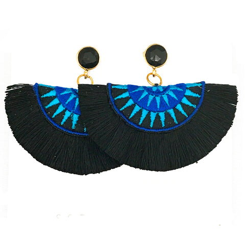 Fan Tassel Earrings - Black & Blue / Black Stone