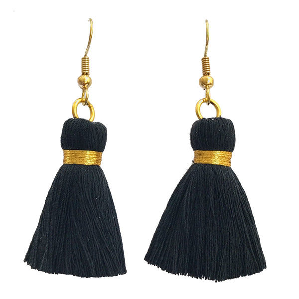 Simple Gold Hook & Tassel Earrings - Black