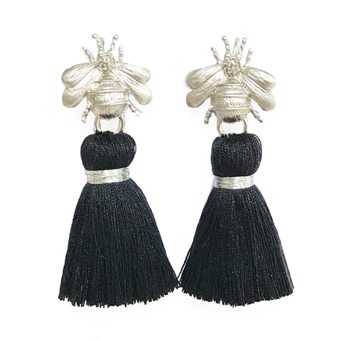 The 'Queen Bee' Tassel Earrings - Silver/Black