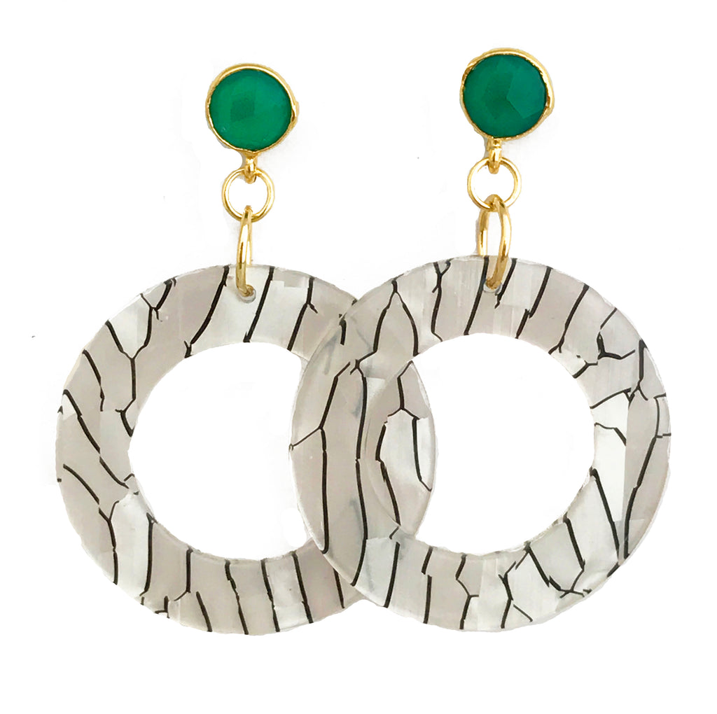 Zebra Lucite Earrings