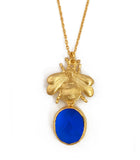 The 'Queen Bee' & Glass Pendant Necklace - Bright Blue