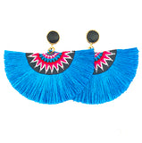 Fan Tassel Earrings - Blue / Black Stone