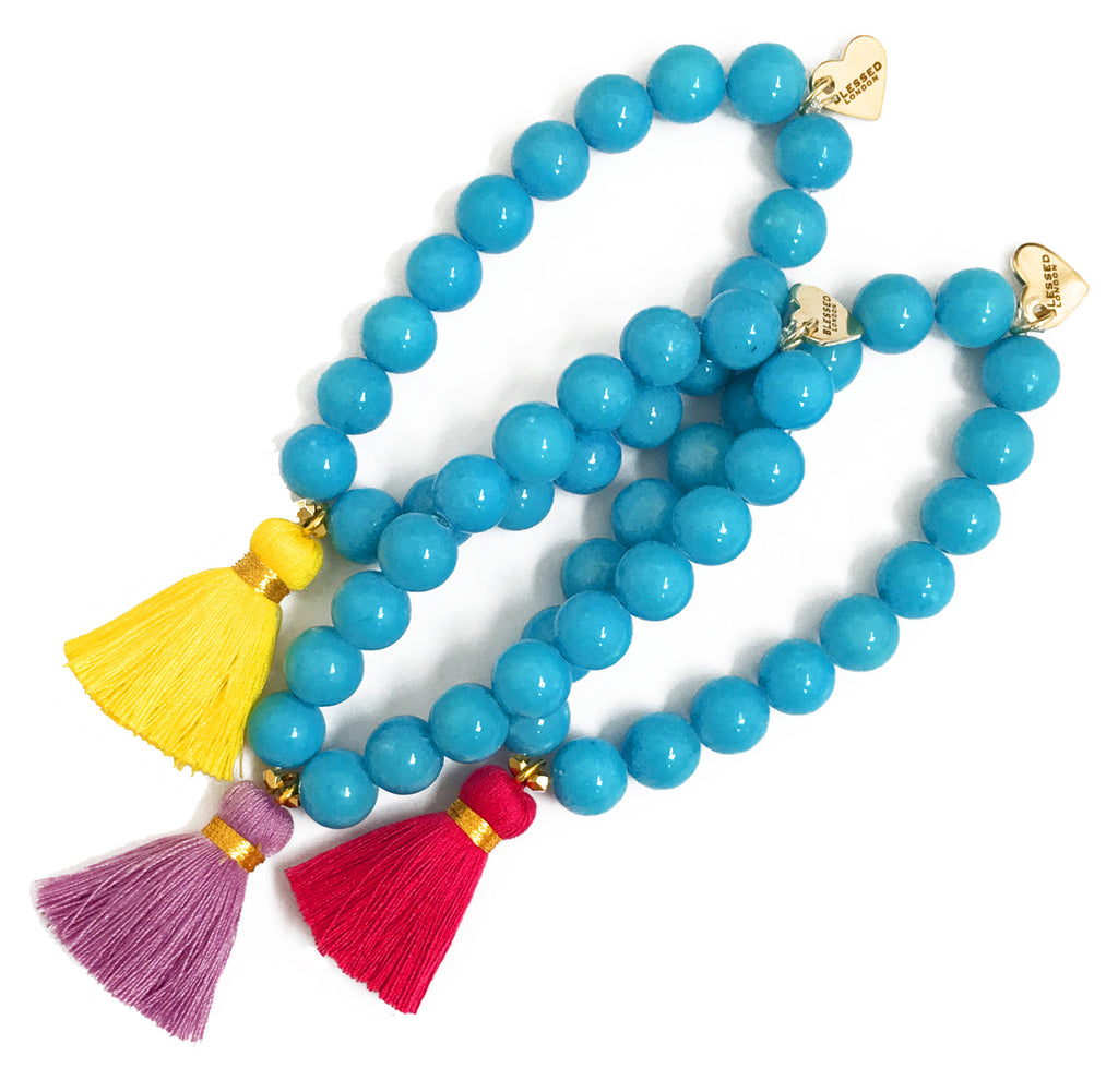 Bright Blue Jade Bracelet - Choose a Tassel Colour