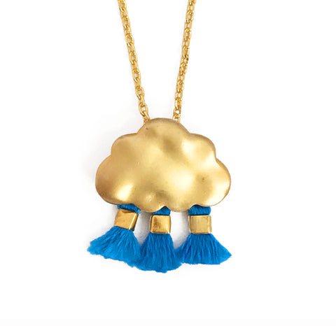 'Every Cloud Has A Tassel Lining' Necklace - Bright Blue