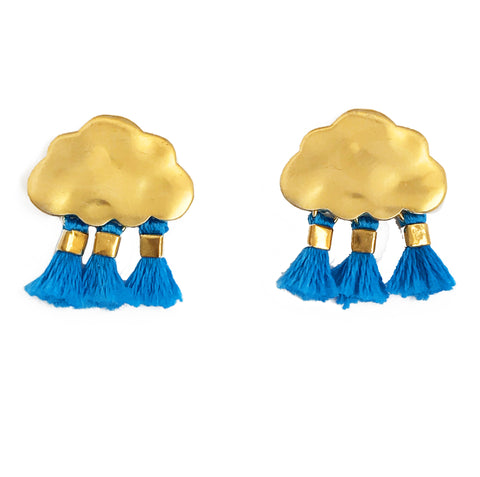'Every Cloud Has A Tassel Lining' Earrings - Bright Blue