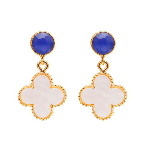 The 'Good Luck Clover' Earrings - Blue Post