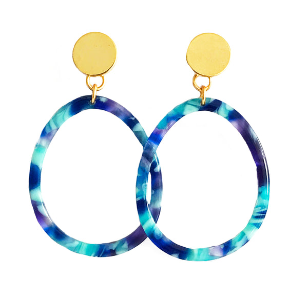 Oval Lucite Earrings - Blue