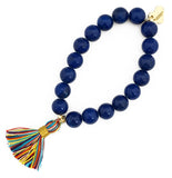 Primary Multi-Colour Tassel Bracelet - Navy Blue Jade