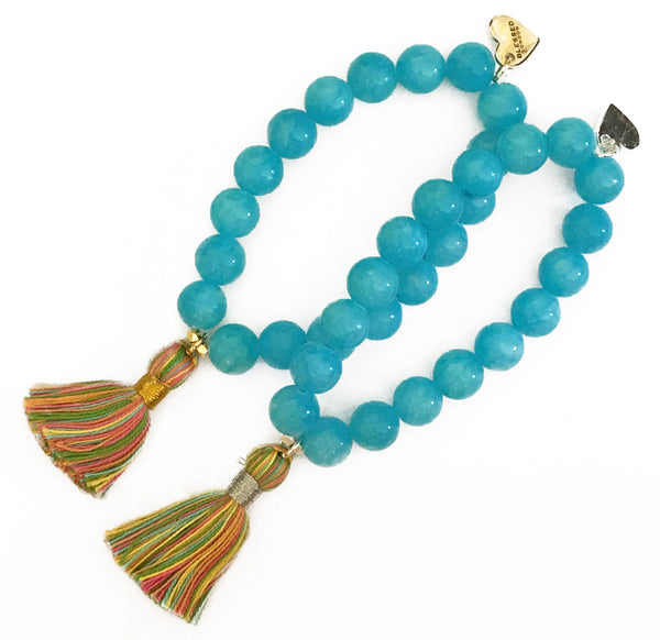 Pastel Multi-Colour Tassel Bracelet - Light Blue Jade