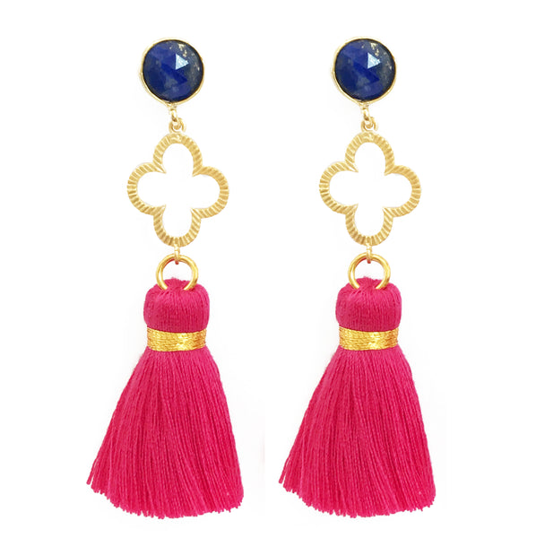 The 'Good Luck Clover' with Tassel Earrings - Blue/Bright Pink