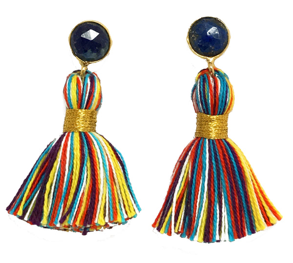 Blue Stone & Primary Tassel Earrings