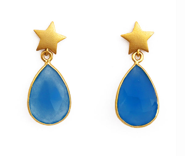Star & Blue Stone Earrings