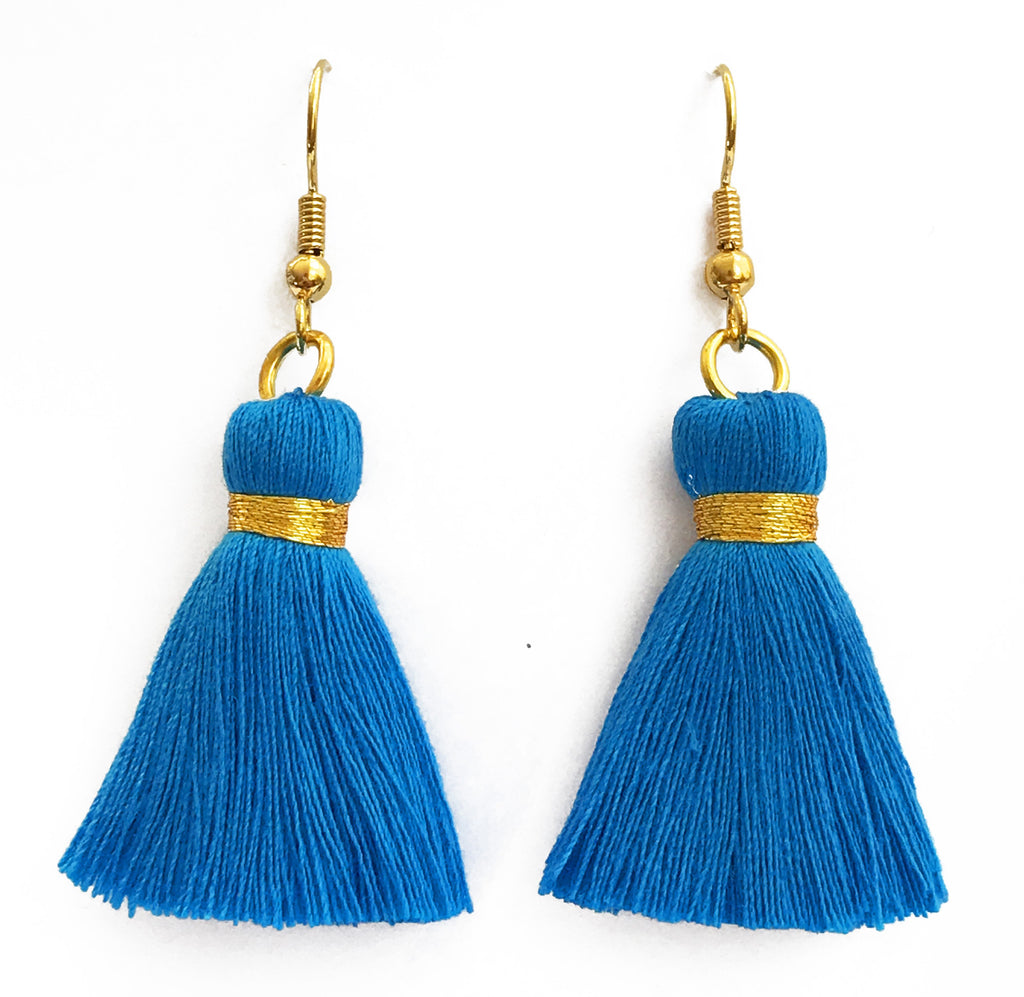 Simple Gold Hook & Tassel Earrings - Bright Blue