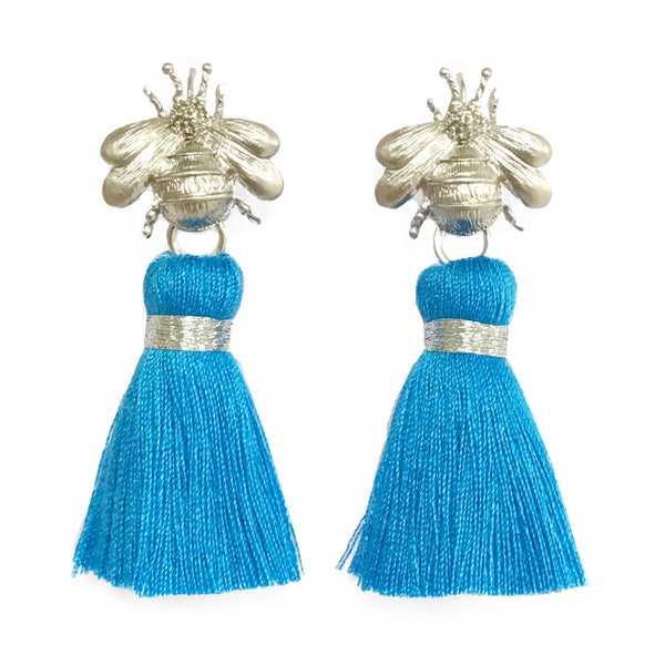 The 'Queen Bee' Tassel Earrings - Silver/Bright Blue