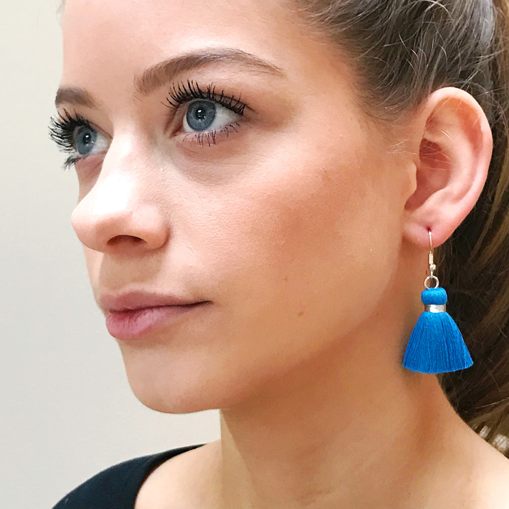Simple Silver Hook & Tassel Earrings - Bright Blue
