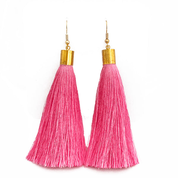 Long Silk Tassel Earrings - Light Pink