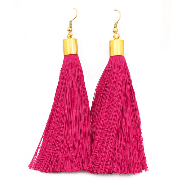 Long Silk Tassel Earrings - Bright Pink