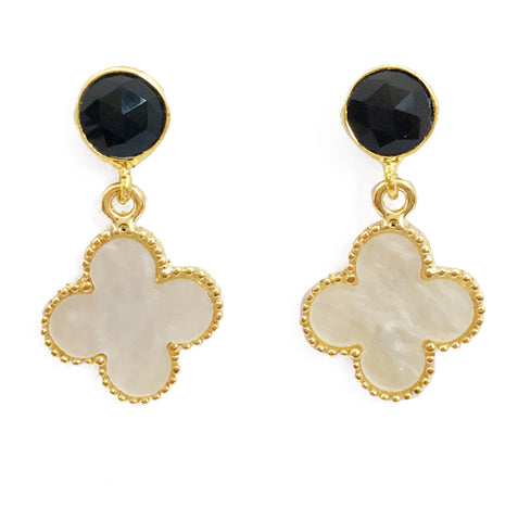 The 'Good Luck Clover' Earrings - Black Stone