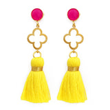 The 'Good Luck Clover' with Tassel Earrings - Pink/Yellow