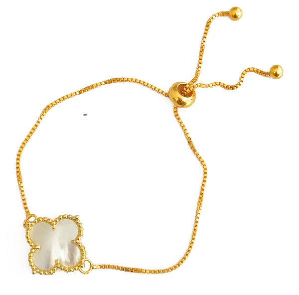 The 'Good Luck Clover' Adjustable Gold Bracelet -  White