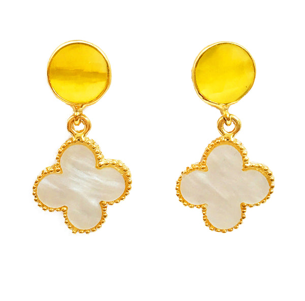 The 'Good Luck Clover' Earrings - Yellow Stone