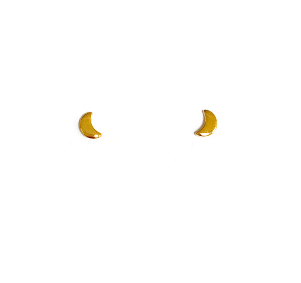 Tiny Gold Crescent Earring Studs