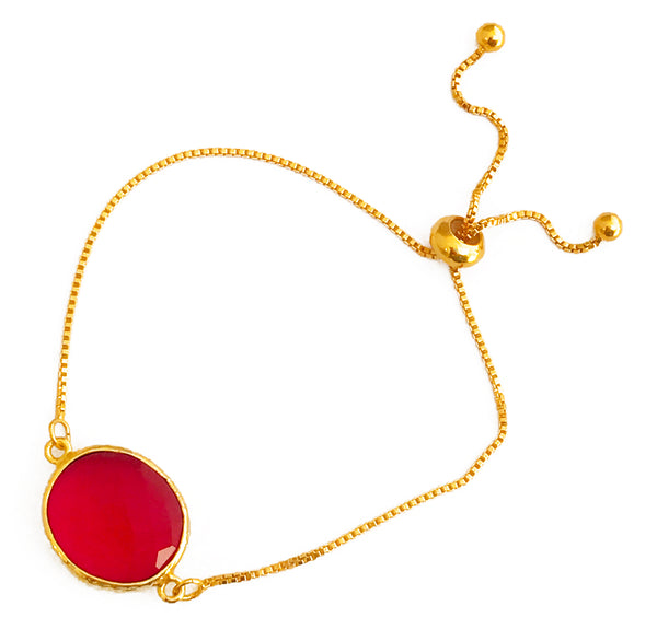 Dark Pink Glass Pendant & Adjustable Gold Bracelet