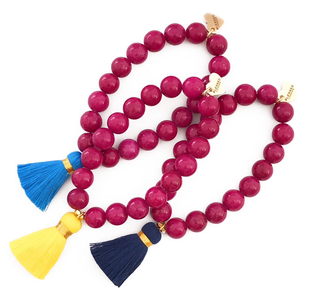 Dark Pink Jade Bracelet - Choose a Tassel Colour