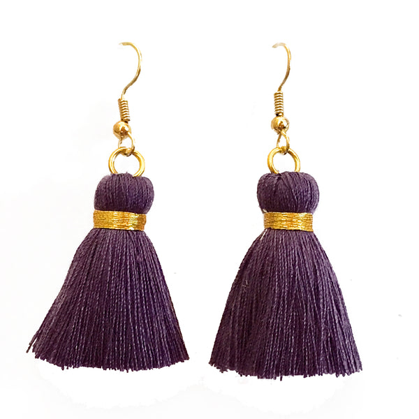 Simple Hook & Tassel Earrings - Dark Purple