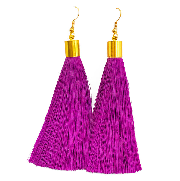 Long Silk Tassel Earrings - Dark Purple