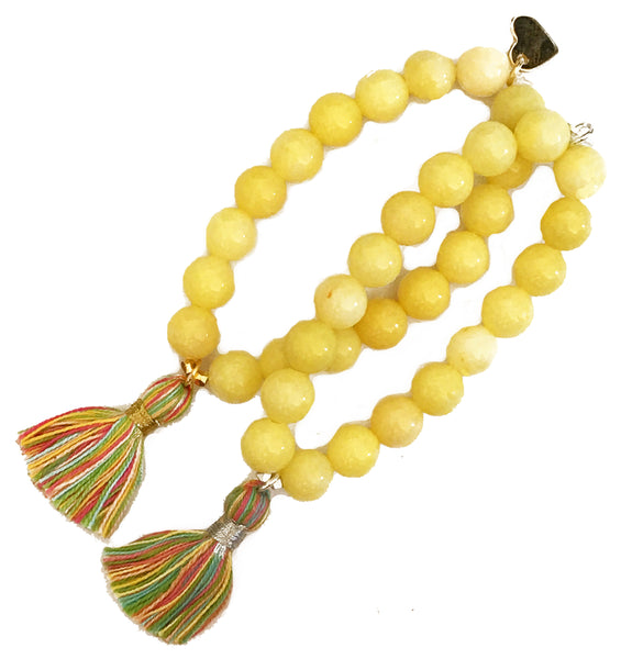 Pastel Multi-Colour Tassel Bracelet - Yellow Jade
