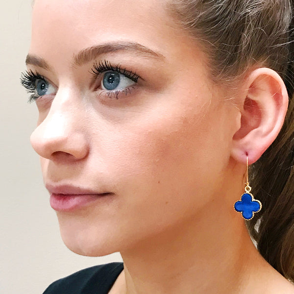 The 'Good Luck Clover' Drop Earrings - Royal Blue