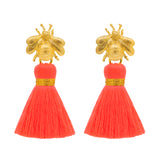 The 'Queen Bee' Tassel Earrings - Neon Coral