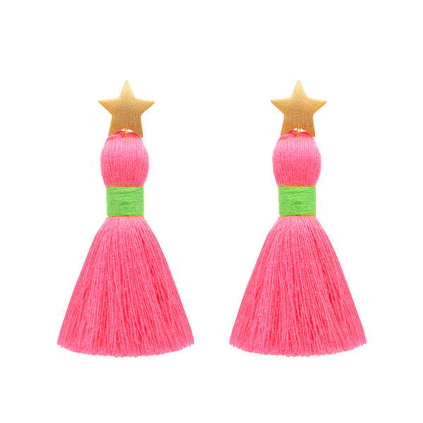 Gold Star & Neon Pink Tassel / Neon Green Binding Earrings