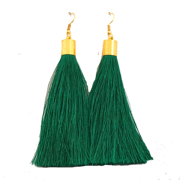 Long Silk Tassel Earrings - Emerald Green