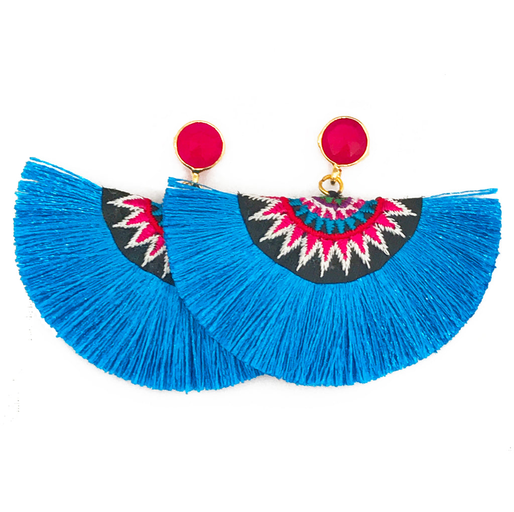 Fan Tassel Earrings - Blue / Pink Stone