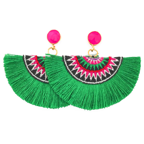 Fan Tassel Earrings - Green / Pink Stone