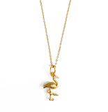 Flamingo Necklace with Tassel and/or Initial Charm(s) - Gold