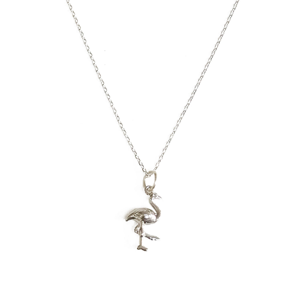 Flamingo Necklace with Tassel and/or Initial Charm(s) - Silver