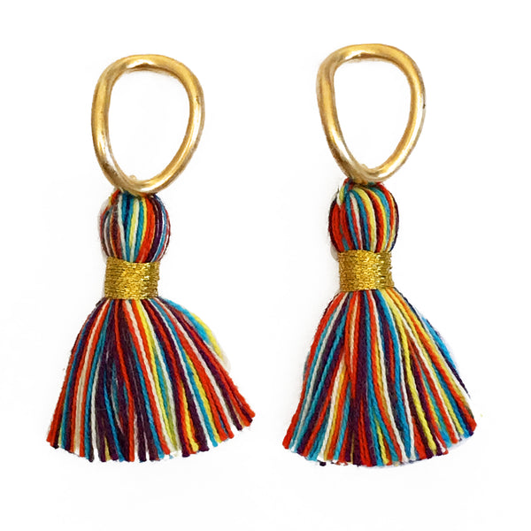 Gold Hoop & Primary Multi-Colour Tassel Earrings