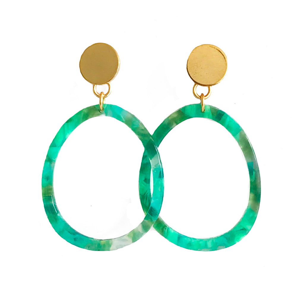 Oval Lucite Earrings - Green