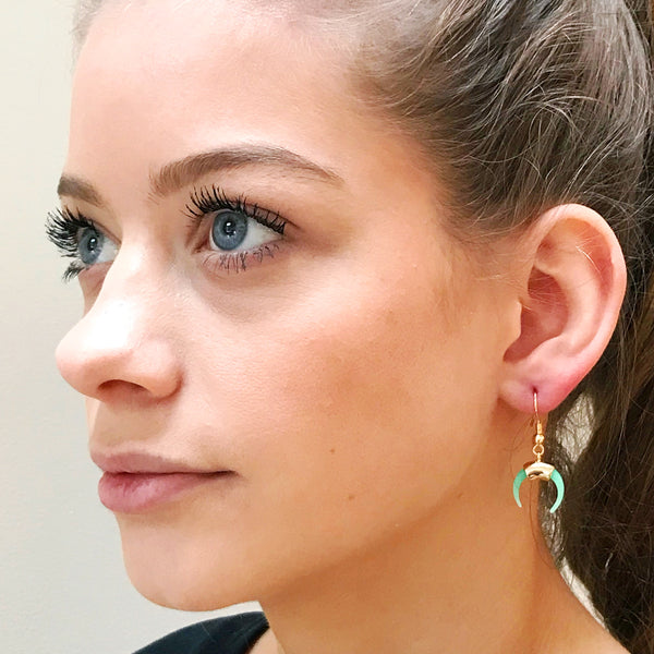 Horn Earrings - Mint Green