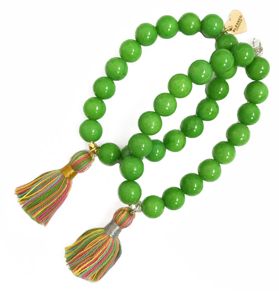 Pastel Multi-Colour Tassel Bracelet - Green Jade