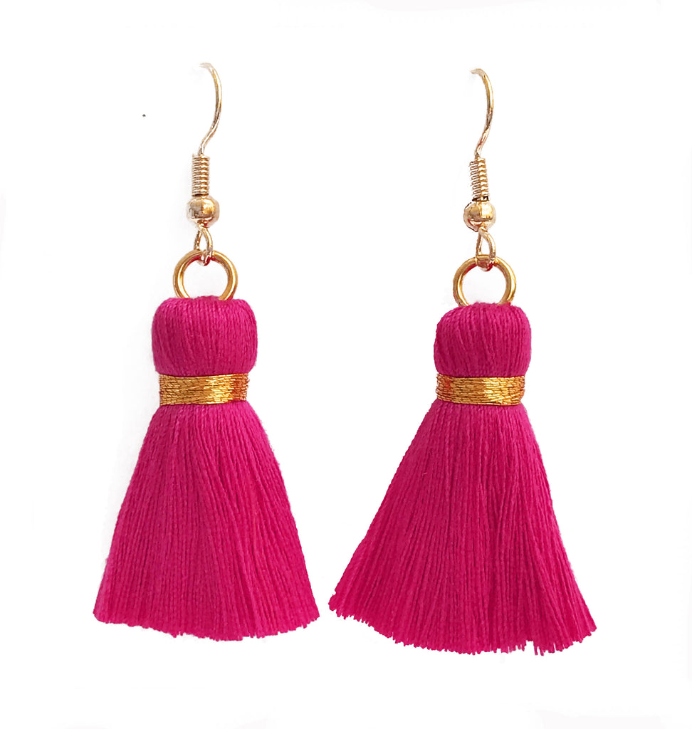 Simple Hook & Tassel Earrings - Bright Pink