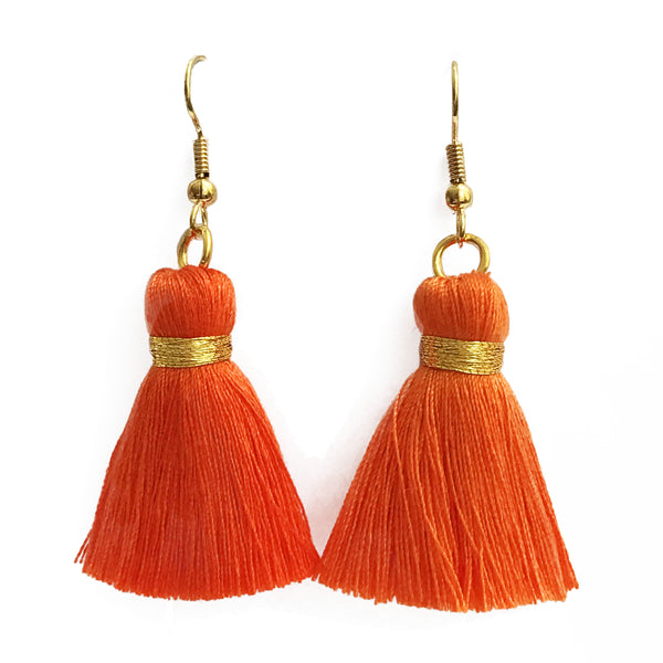 Simple Hook & Tassel Earrings - Orange