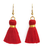 Simple Gold Hook & Tassel Earrings - Red